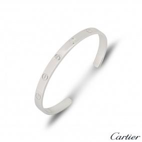 Cartier White Gold Diamond Cuff Love Bracelet Size 17 B6029917